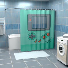 Handheld Gaming Console Shower Curtain